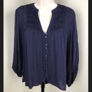 ANTHROPOLOGIE Maeve Navy Button Front Blouse 6